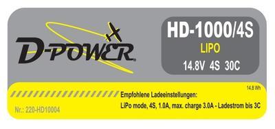 HD-1000 4S Lipo (14.8V) 30C, BEC Stecker