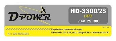 HD-3300 2S Lipo (7.4V) 30C, T-Stecker