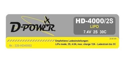 HD-4000 2S Lipo (7.4V) 30C, T-Stecker