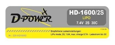 HD-1600 2S Lipo (7.4V) 30C, T-Stecker