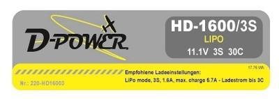 HD-1600 3S Lipo (11.1V) 30C, T-Stecker