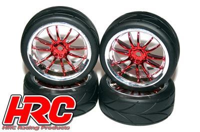 1/10 Touring montiert, Split-Six Rot/Chrome Felgen